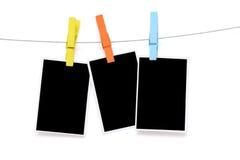 Красочная бумага фото пробела вида зажимки для белья Стоковая Фотография RF