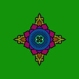 Красочная буддийская мандала Этническая символическая диаграмма Стоковые Изображения RF