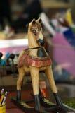 Красочная винтажная деревянная лошадь стоковое фото rf