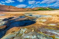 Красочная геотермическая область, Исландия Стоковая Фотография