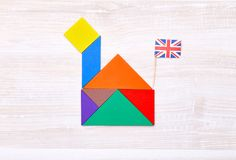 Красочная головоломка tangram в форме дома Стоковые Фото