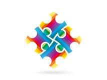 Красочная головоломка соединяет формировать весь квадрат в движении Шаблон иллюстрации векторной графики Стоковая Фотография