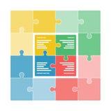 Красочная головоломка соединяет формировать квадратную диаграмму swot Стоковые Изображения