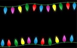 Красочная граница светов рождества изолированная на черной предпосылке Бесплатная Иллюстрация