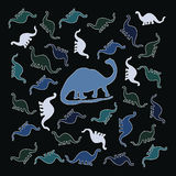 Красочная группа в составе динозавры Стоковое фото RF