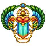 Красочная египетская картина цифров скарабея Стоковые Фотографии RF