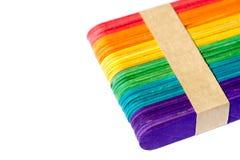 красочная деревянная ручка мороженого Стоковое фото RF