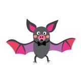 Красочная летучая мышь летая с персонажем из мультфильма смычка Стоковые Фотографии RF