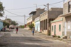 Красочная жилая перспектива горжетки Fundo das Figueiras домов стоковая фотография rf