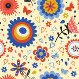 Красочная зацветая картина цветков безшовная Стоковая Фотография
