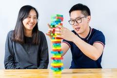 Красочная игра стога деревянных блоков Стоковое фото RF