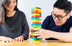 Красочная игра стога деревянных блоков Стоковые Изображения