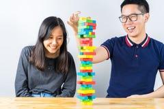 Красочная игра стога деревянных блоков Стоковая Фотография RF