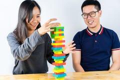 Красочная игра стога деревянных блоков Стоковые Фото