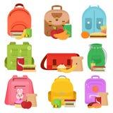 Красочная иллюстрация вектора школы ягнится сумки и коробки еды обеда в стиле шаржа плоском бесплатная иллюстрация
