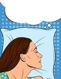 Красочная иллюстрация спать женщины в шуточном стиле искусства Иллюстрация штока