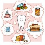 Красочная иллюстрация шаржа Плохая еда для зубов Воспитательный плакат для детей бесплатная иллюстрация