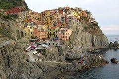 Красочная итальянская деревня Riomaggiore Стоковое Изображение RF