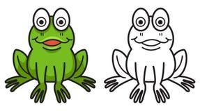 Красочная и черно-белая лягушка для книжка-раскраски Стоковое фото RF