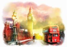 Красочная иллюстрация вида на город Лондона Стоковое Изображение