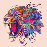 Красочная иллюстрация головы тигра Иллюстрация штока