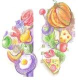 Красочная иллюстрация еды Стоковое фото RF