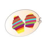 Красочная иллюстрация логотипа пирожного изолированная на белой предпосылке Кнопка, логотип, приглашение, вектор карточки Стоковое Изображение RF
