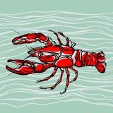 Красочная иллюстрация омара 1 Стоковое Изображение