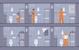 Красочная иллюстрация отличая пленниками за барами Люди в оранжевой форме избежание выходит через стену в клетке бесплатная иллюстрация