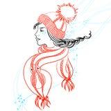 Красочная иллюстрация с профилем девушки Стоковая Фотография RF