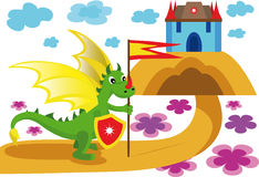 Красочная иллюстрация с драконом Стоковые Изображения RF