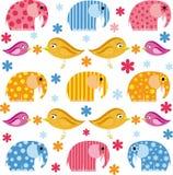 Красочная иллюстрация с слоном и птицей Стоковые Изображения RF