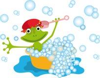 Красочная иллюстрация с лягушкой Стоковые Изображения RF