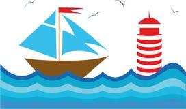 Красочная иллюстрация с sailboot Стоковая Фотография RF