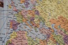 Красочная карта, фокусируя на Европе стоковые фото
