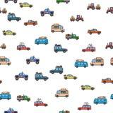 Красочная картина автомобилей и тележек безшовная Корабли, взгляд со стороны Белая предпосылка также вектор иллюстрации притяжки  Стоковое Фото