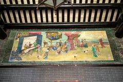 Красочная картина показывая сцены старой жизни в академии клана Chen Стоковое фото RF