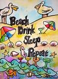 Красочная картина пляжа акварели Иллюстрация штока