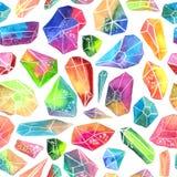 Красочная картина самоцвета акварели, красивая кристаллическая картина Стоковое Фото
