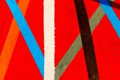 Красочная картина с красными голубыми белыми линиями стоковые изображения