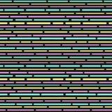 Красочная картина с нашивками Брошенные линии Безшовная картина в стиле Мемфиса стиль 80s 90s вектор Стоковое Изображение
