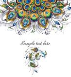 Красочная карточка приглашения с пер павлина Стоковые Изображения RF