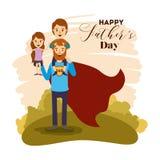 Красочная карточка с супергероем и сыновььями папы на день отцов иллюстрация вектора