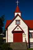 Красочная католическая церковь в Akureyri Стоковое Изображение RF