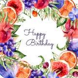 Красочная круглая рамка акварели цветет, гранатовое дерево, виноградины, апельсин, смоквы, орхидея иллюстрация вектора