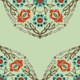 Красочная круглая флористическая предпосылка угла границы Стоковое Изображение