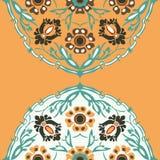 Красочная круглая флористическая предпосылка угла границы Стоковые Изображения