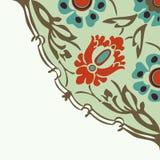 Красочная круглая флористическая предпосылка угла границы Стоковое Фото