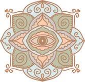 o r Красочная мандала с символом глаза Яркая картина в круге иллюстрация штока