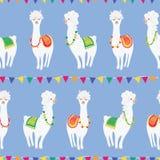Красочная милая партия ламы под картиной вектора овсянки безшовной для ткани, обоев, scrapbooking или предпосылок иллюстрация штока